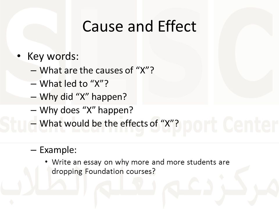 cause and effect essay key words Keywords for picking up on cause & effect and causality on the lsat learn with flashcards, games, and more — for free.