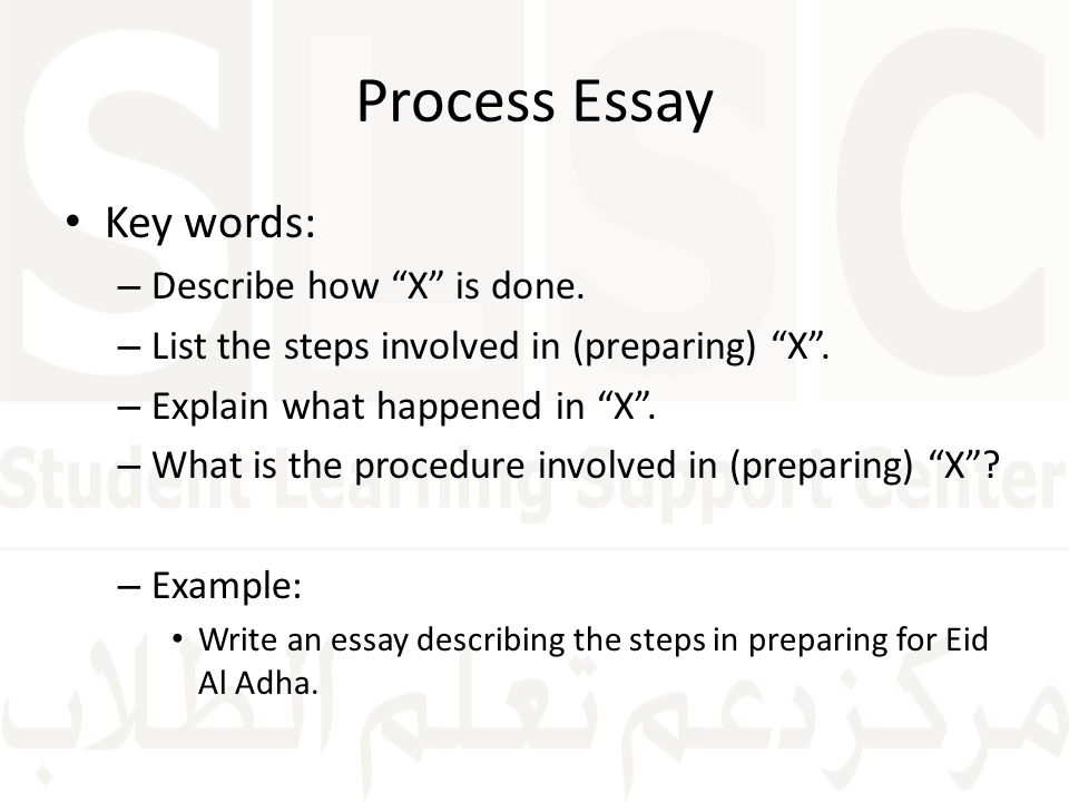 Process essay key words