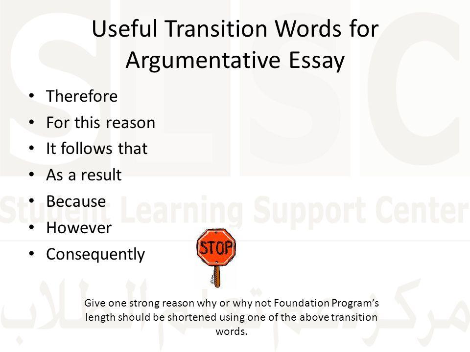 transitions used argumentative essay