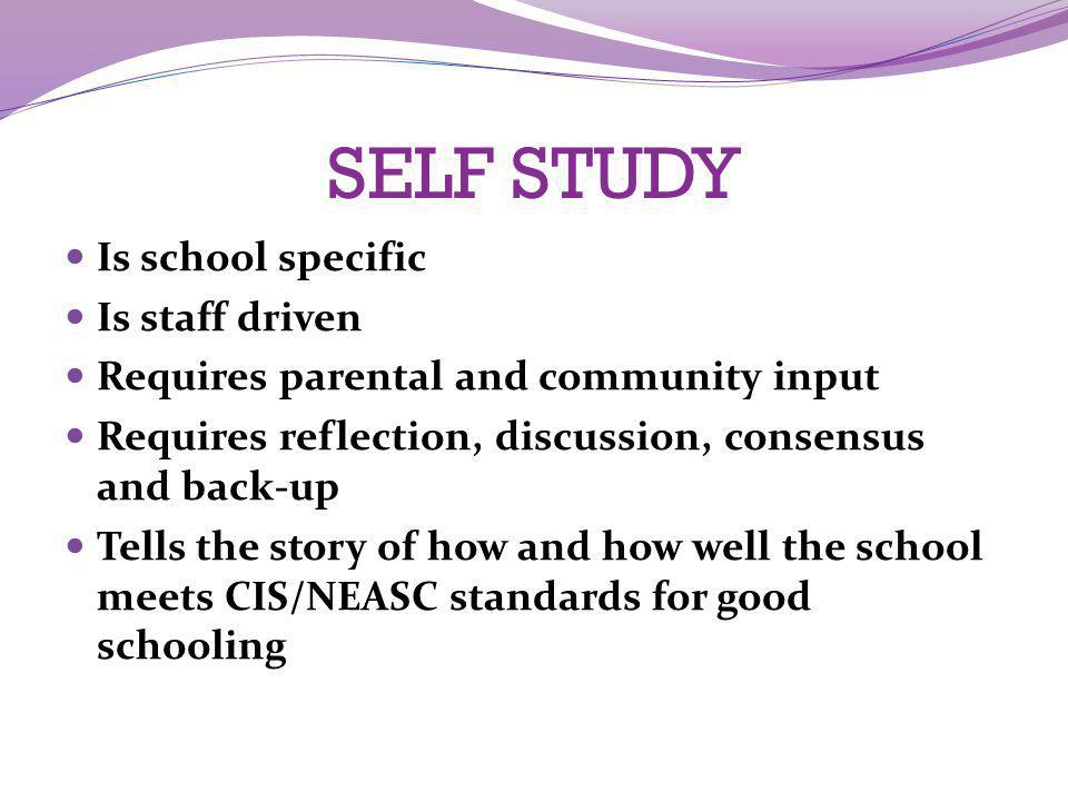 SELF STUDY Is school specific Is staff driven