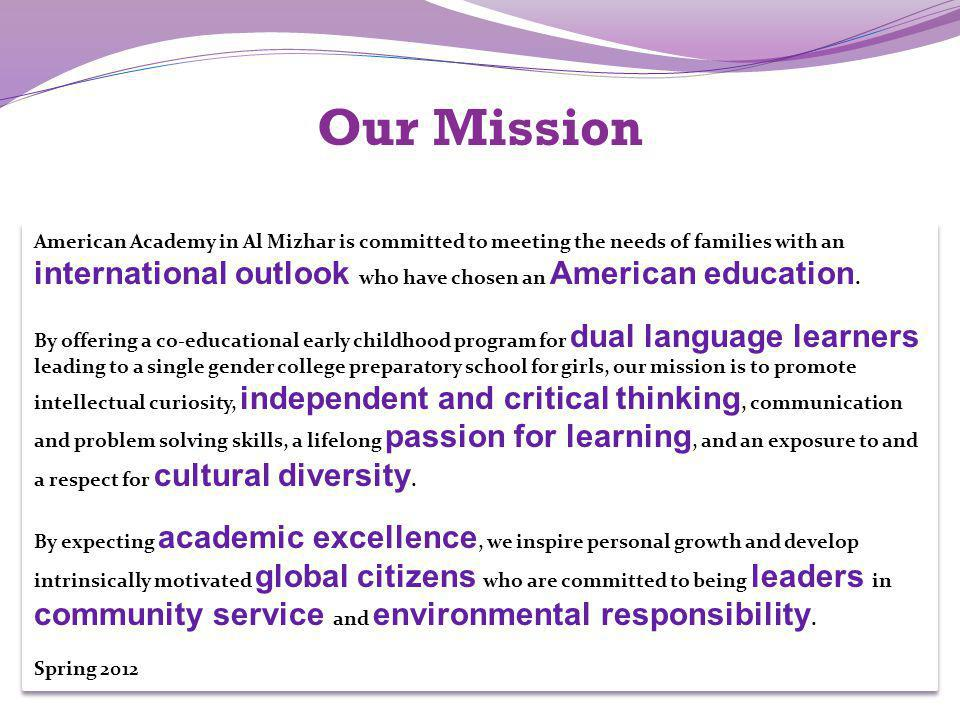 Our Mission community service and environmental responsibility.