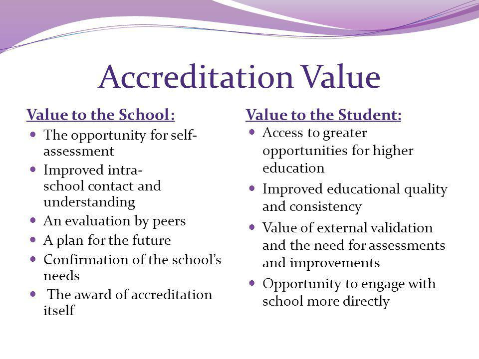 Accreditation Value Value to the School : Value to the Student: