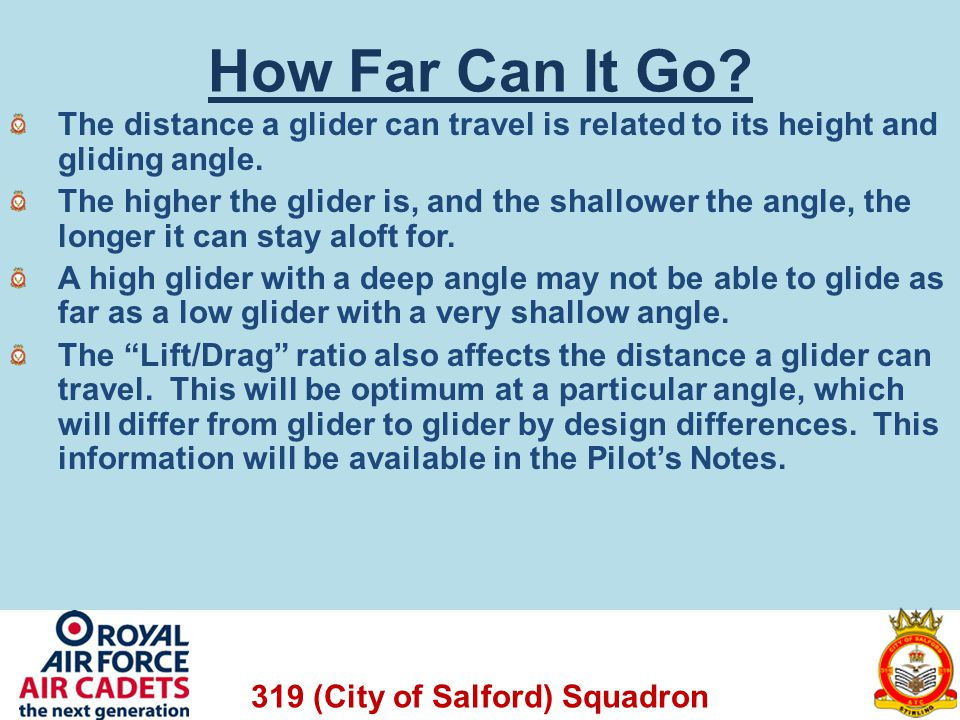 How Far Can It Go The distance a glider can travel is related to its height and gliding angle.
