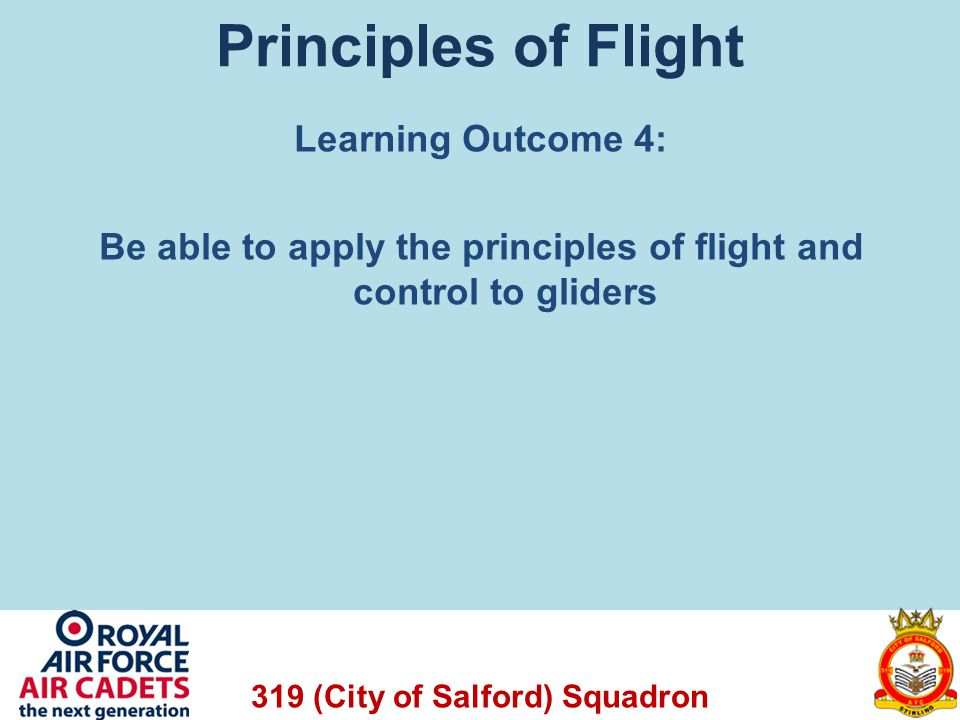 Principles of Flight Learning Outcome 4: Be able to apply the principles of flight and control to gliders