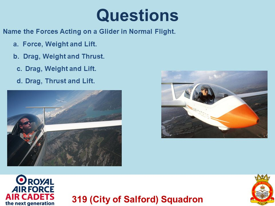 Questions Name the Forces Acting on a Glider in Normal Flight.