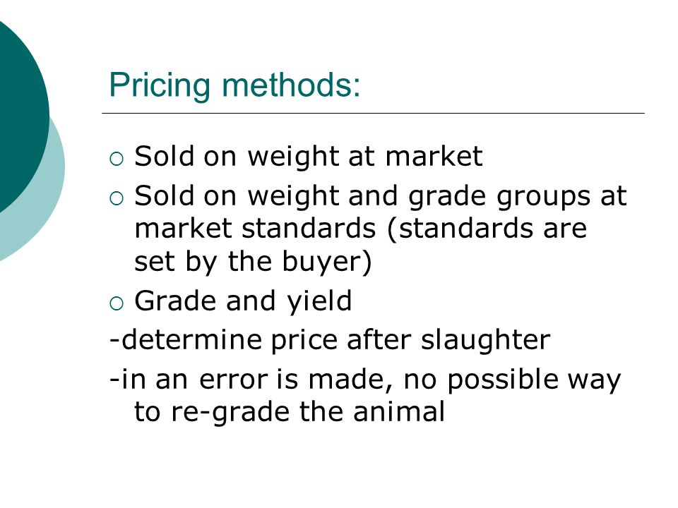 Pricing methods: Sold on weight at market