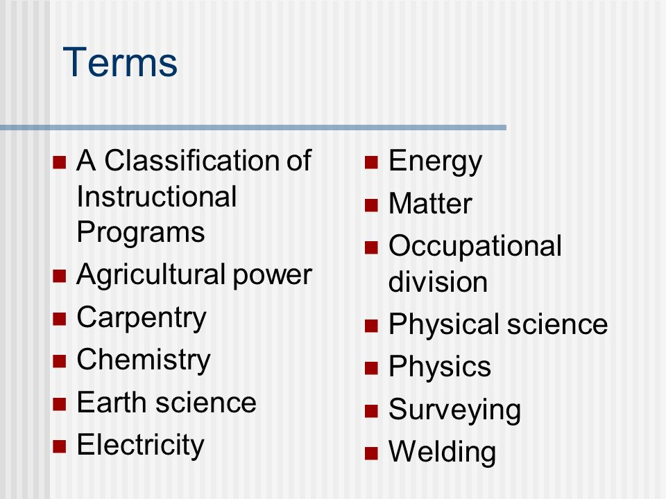 Terms A Classification of Instructional Programs Agricultural power