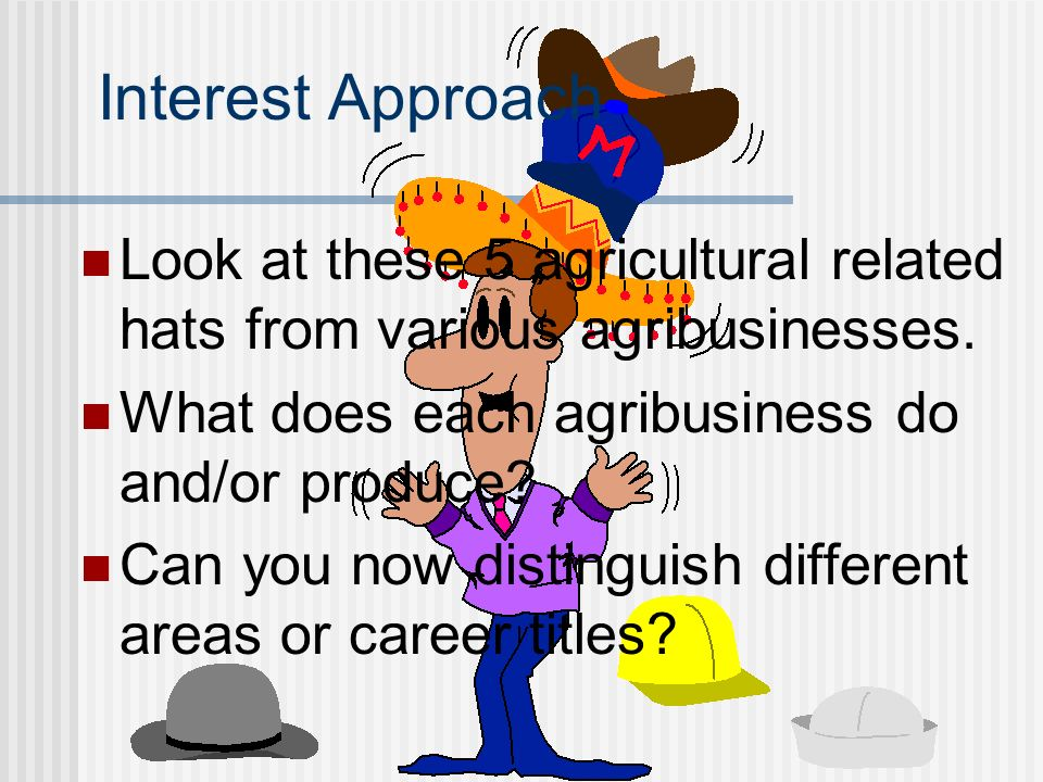 Interest Approach Look at these 5 agricultural related hats from various agribusinesses. What does each agribusiness do and/or produce