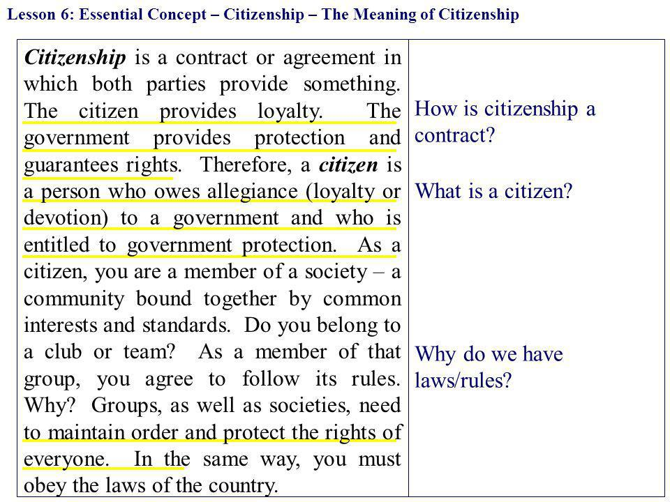 How is citizenship a contract