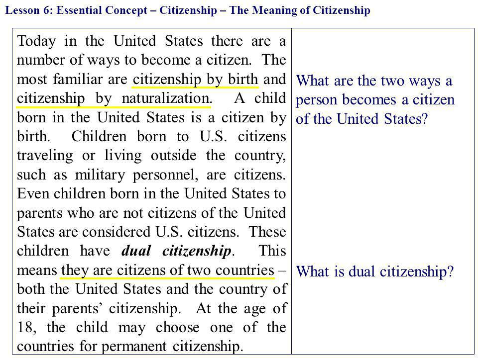 What are the two ways a person becomes a citizen of the United States