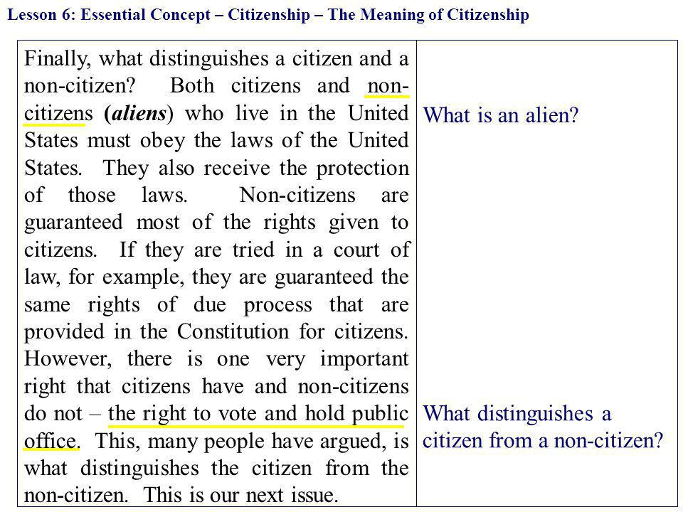 What distinguishes a citizen from a non-citizen