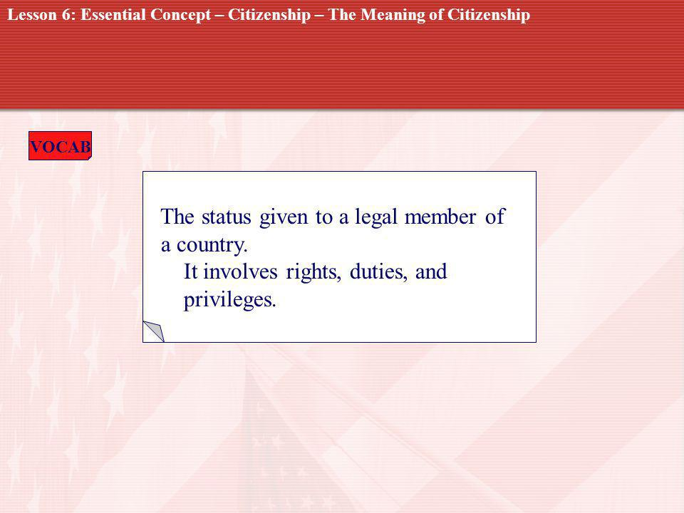 CITIZENSHIP The status given to a legal member of a country.