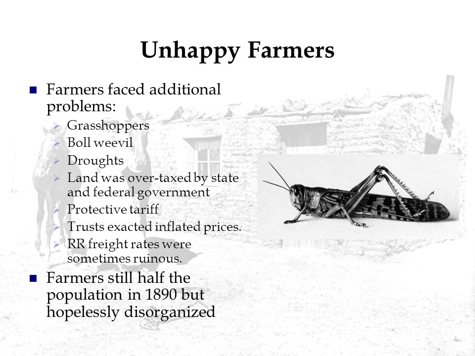 Unhappy Farmers Farmers faced additional problems: