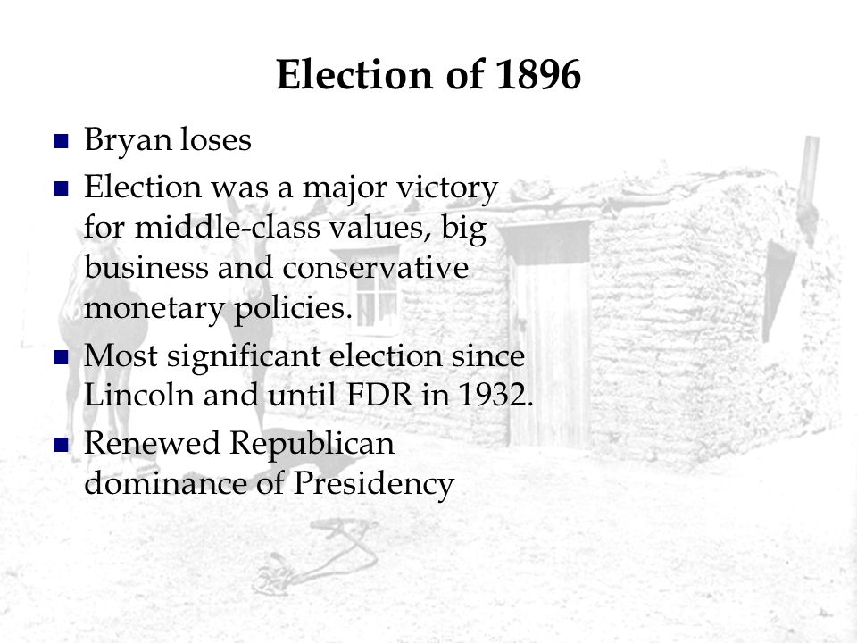 Election of 1896 Bryan loses