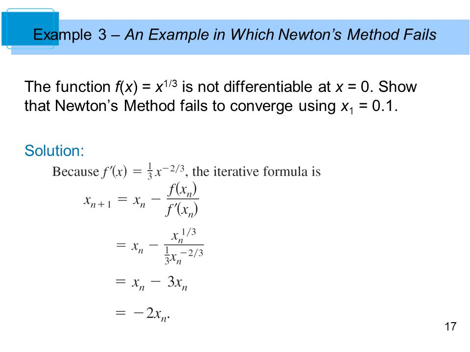 Example 3 – An Example in Which Newton's Method Fails