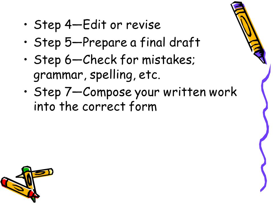 Step 4—Edit or revise Step 5—Prepare a final draft. Step 6—Check for mistakes; grammar, spelling, etc.