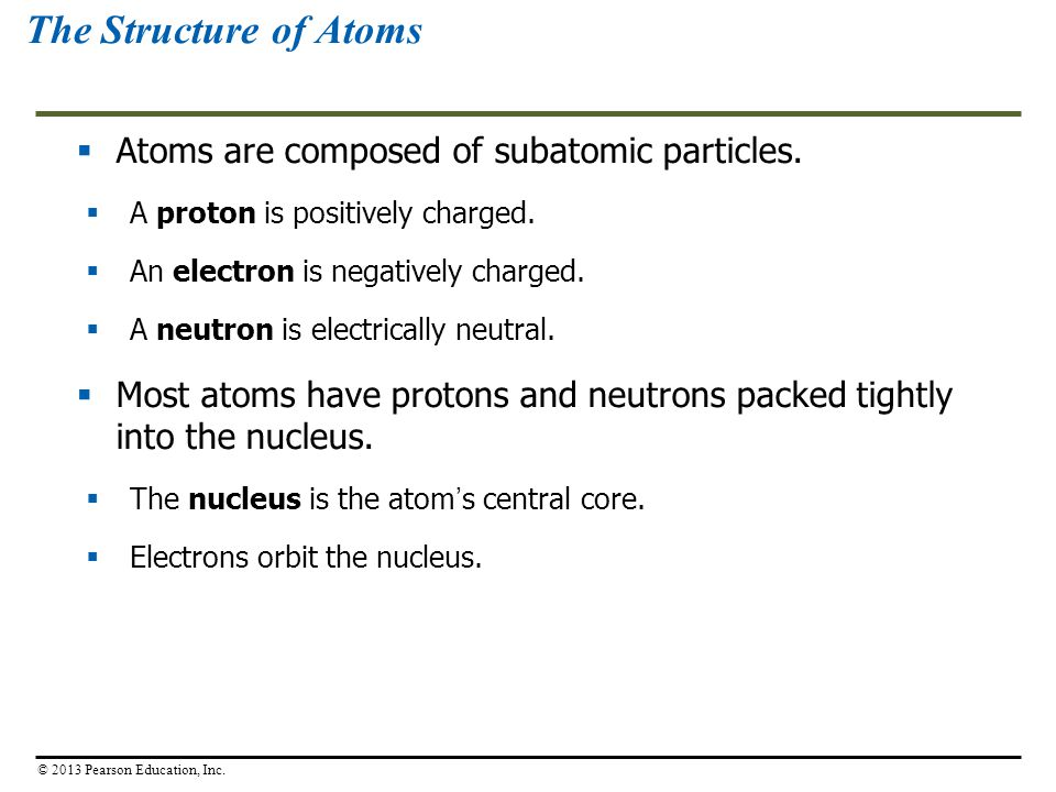 The Structure of Atoms Atoms are composed of subatomic particles.