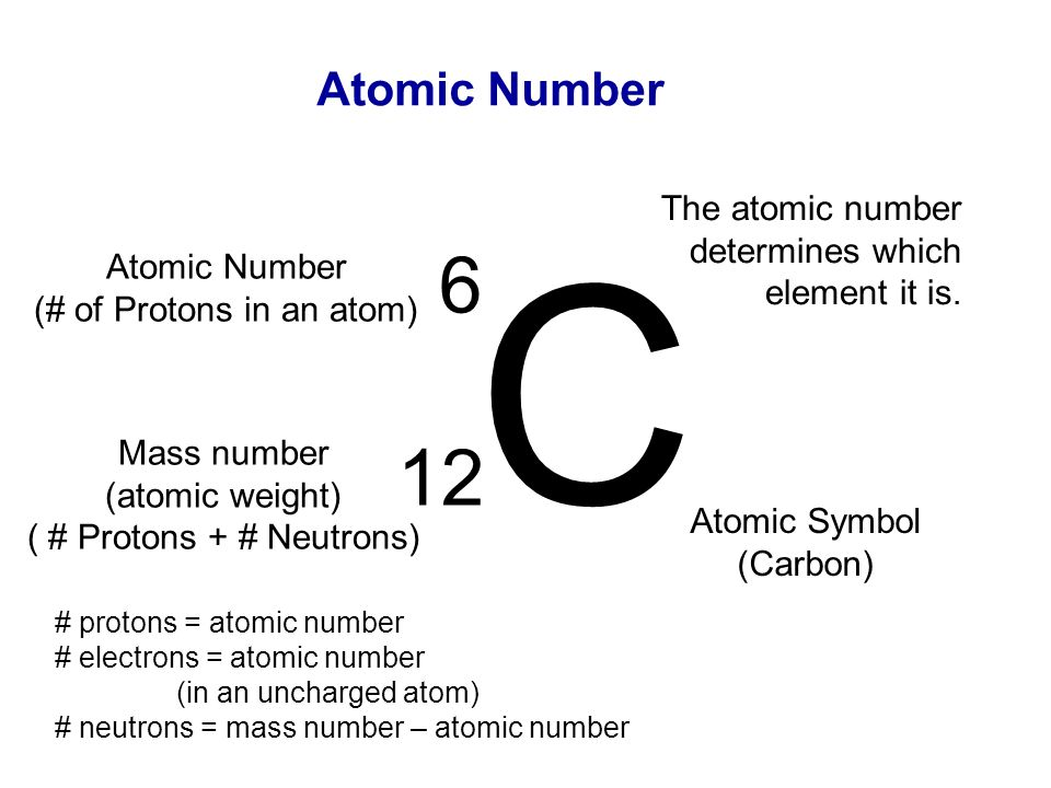 C 6 12 Atomic Number The atomic number determines which element it is.