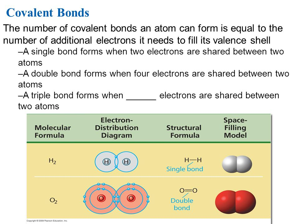 Covalent Bonds The number of covalent bonds an atom can form is equal to the number of additional electrons it needs to fill its valence shell.