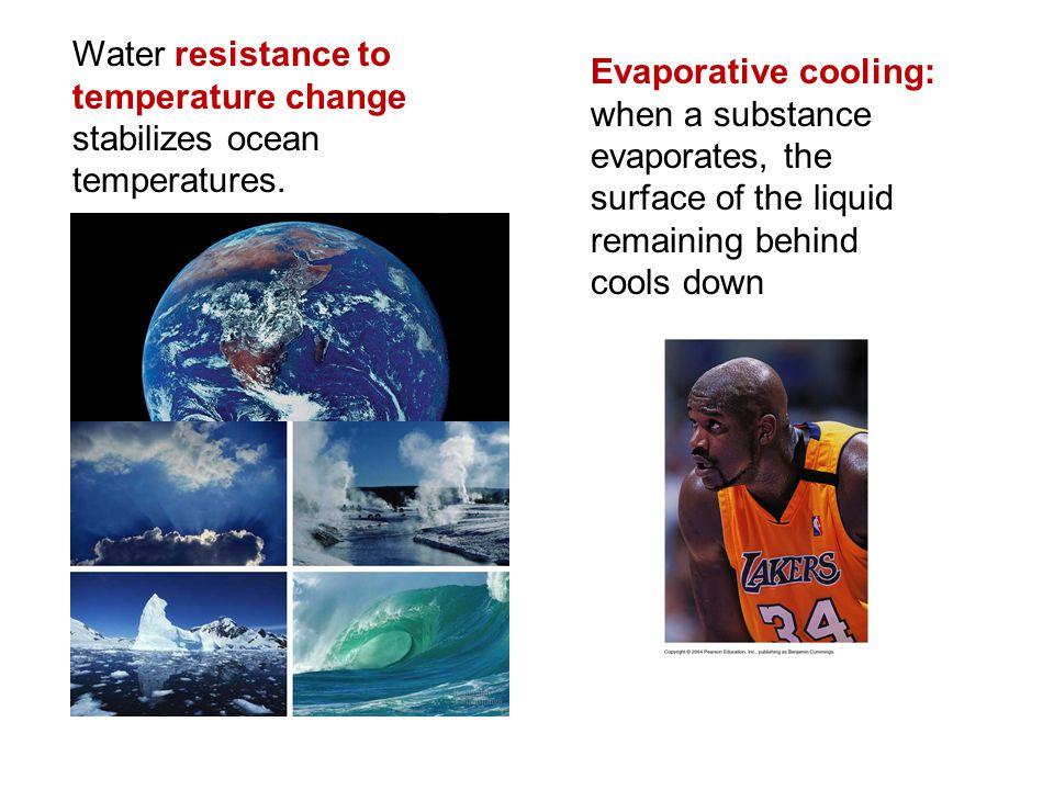 Water resistance to temperature change stabilizes ocean temperatures.