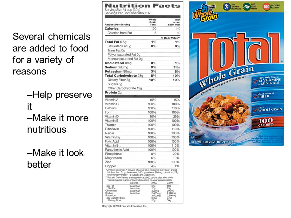 Several chemicals are added to food for a variety of reasons