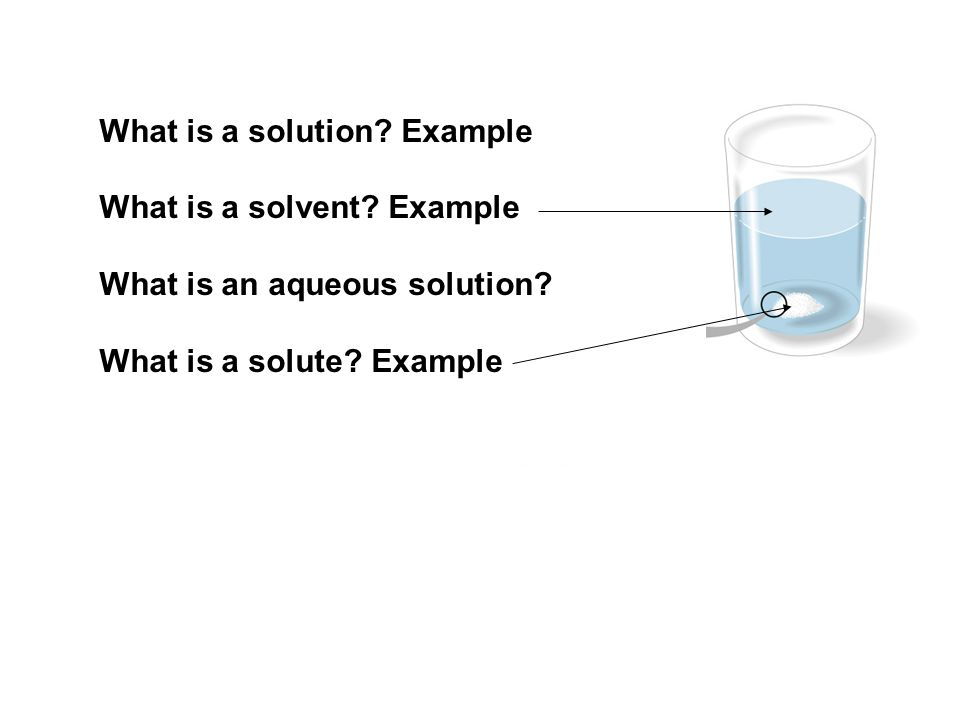 What is a solution Example What is a solvent Example