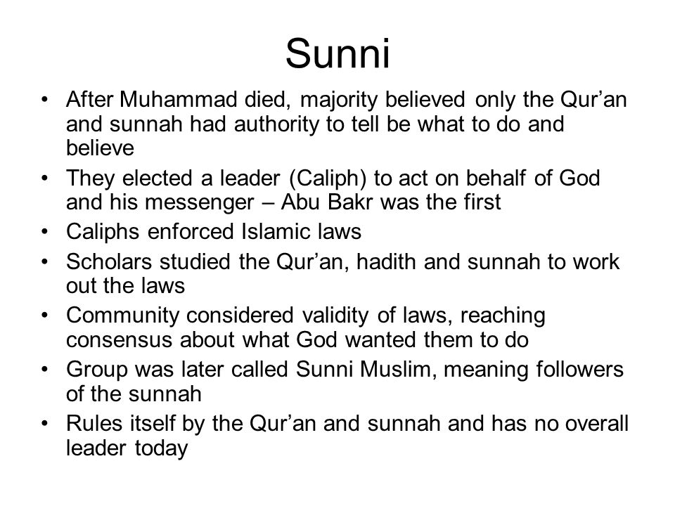 Sunni After Muhammad died, majority believed only the Qur'an and sunnah had authority to tell be what to do and believe.
