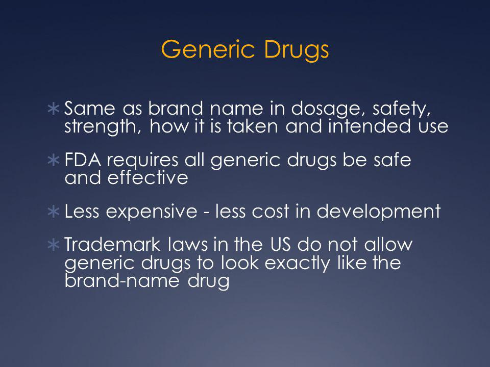 Generic Drugs Same as brand name in dosage, safety, strength, how it is taken and intended use.