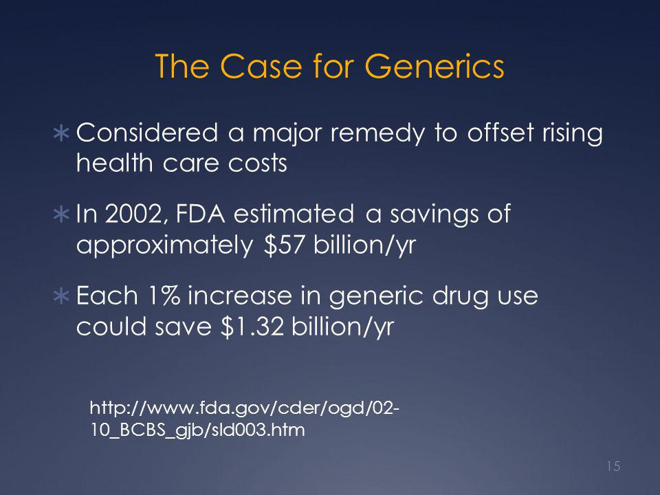 The Case for Generics Considered a major remedy to offset rising health care costs.