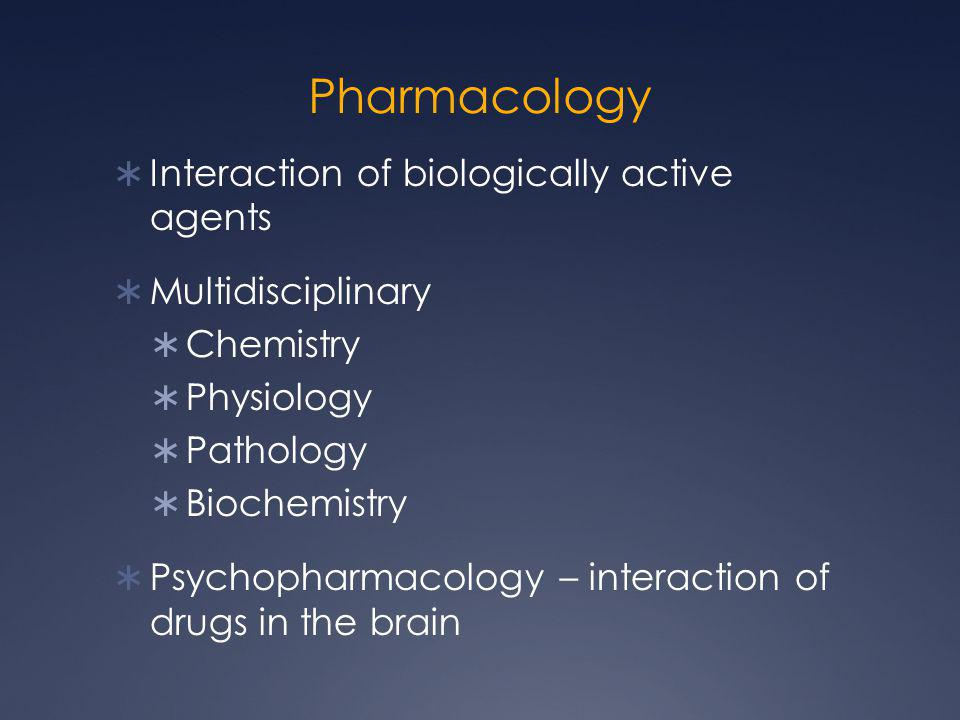 Pharmacology Interaction of biologically active agents