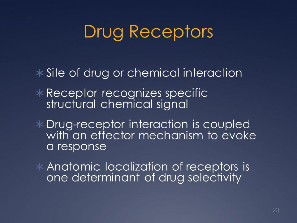 Drug Receptors Site of drug or chemical interaction