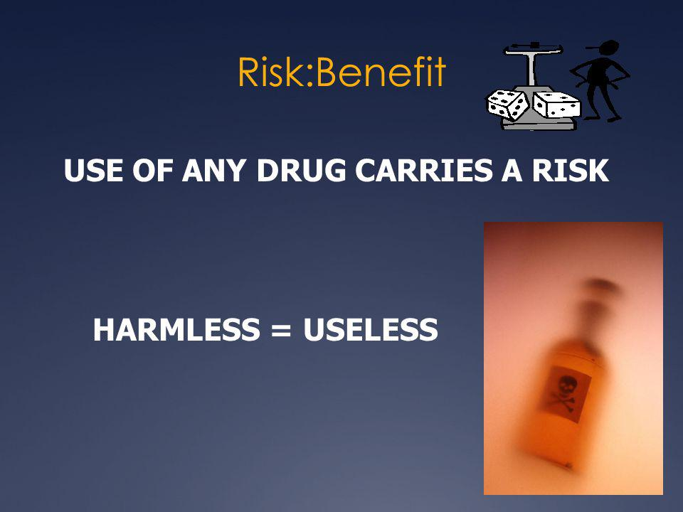 Risk:Benefit USE OF ANY DRUG CARRIES A RISK HARMLESS = USELESS