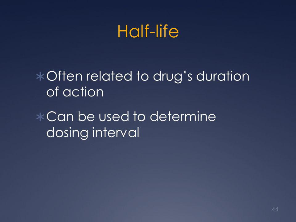 Half-life Often related to drug's duration of action