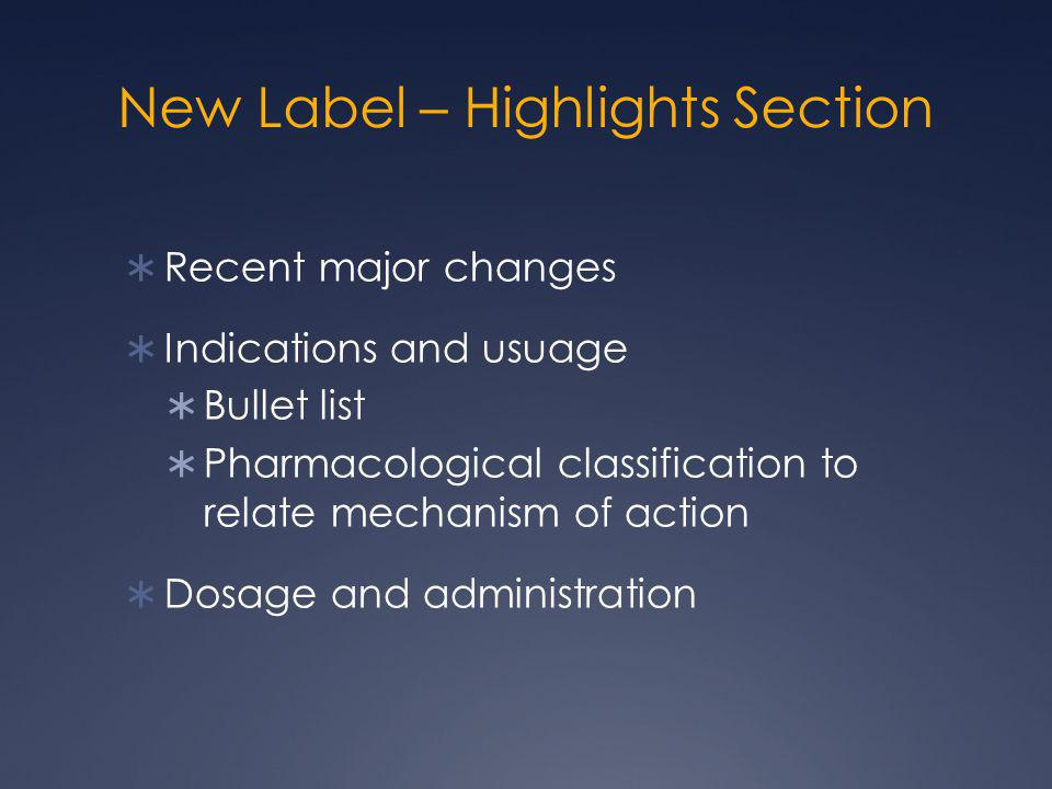 New Label – Highlights Section