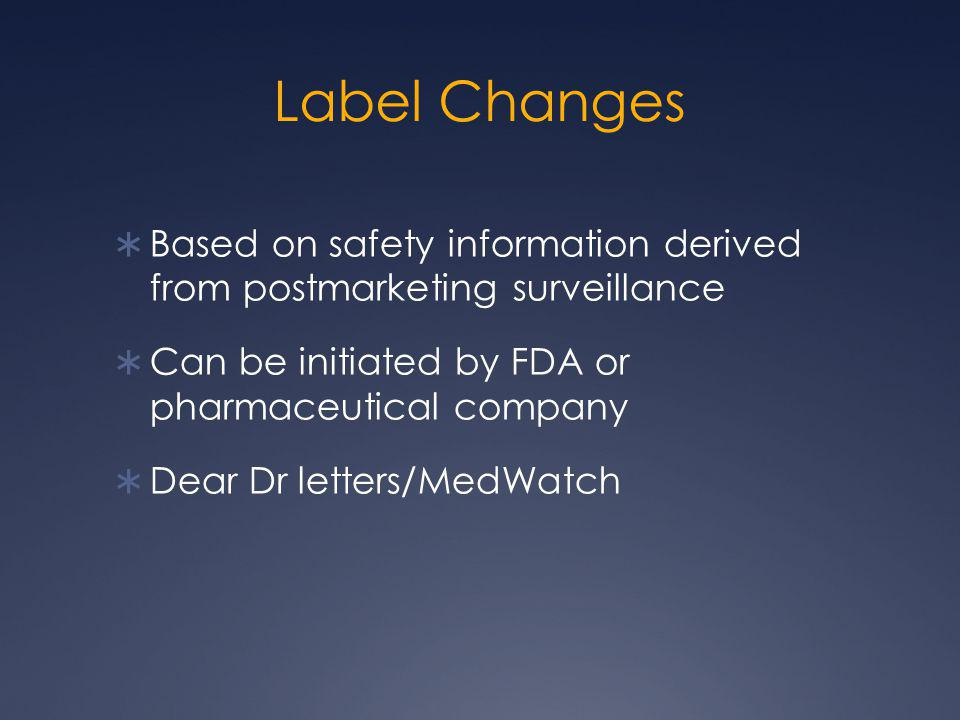 Label Changes Based on safety information derived from postmarketing surveillance. Can be initiated by FDA or pharmaceutical company.