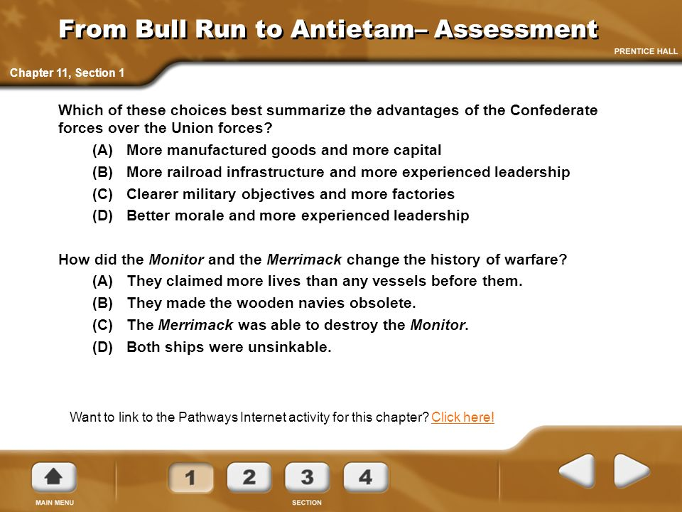 From Bull Run to Antietam– Assessment