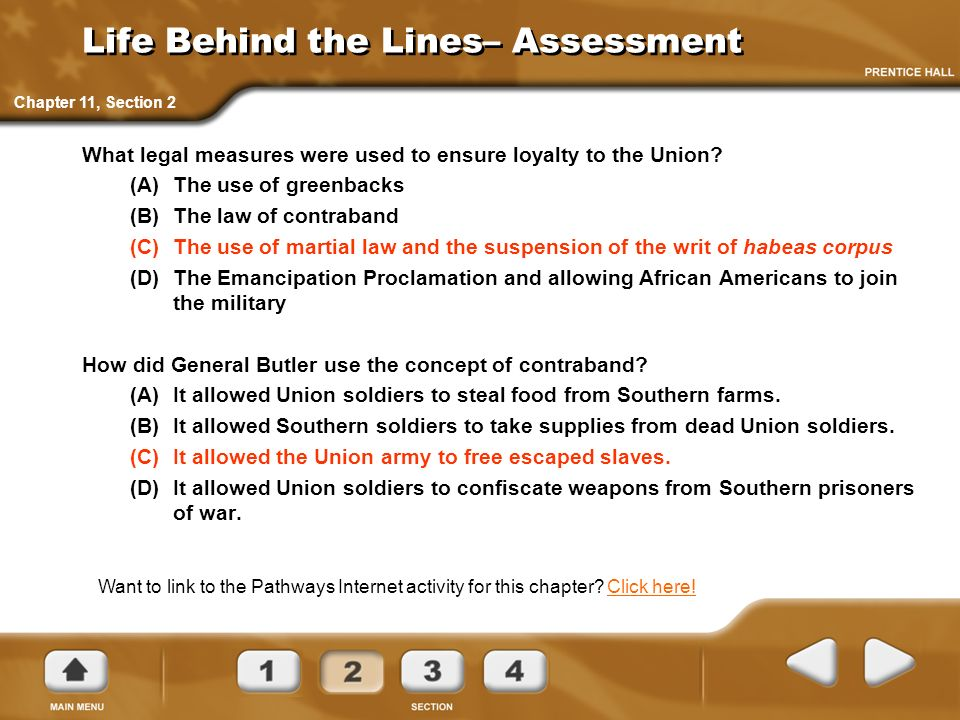 Life Behind the Lines– Assessment