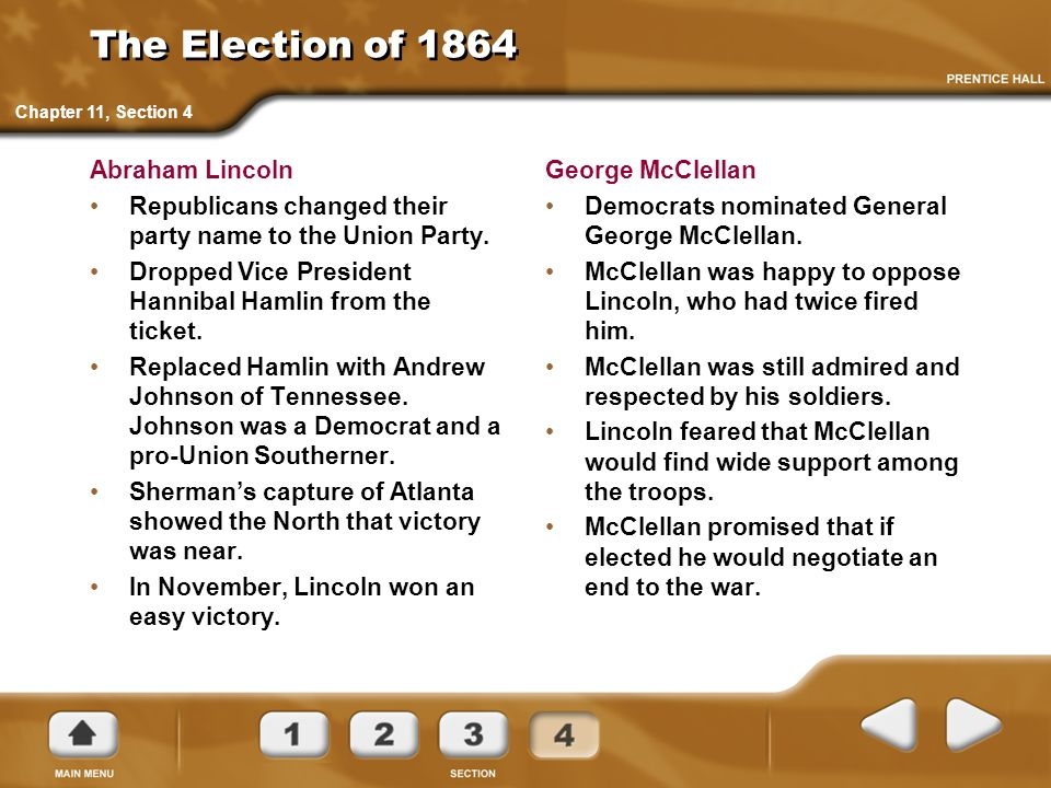 The Election of 1864 Abraham Lincoln