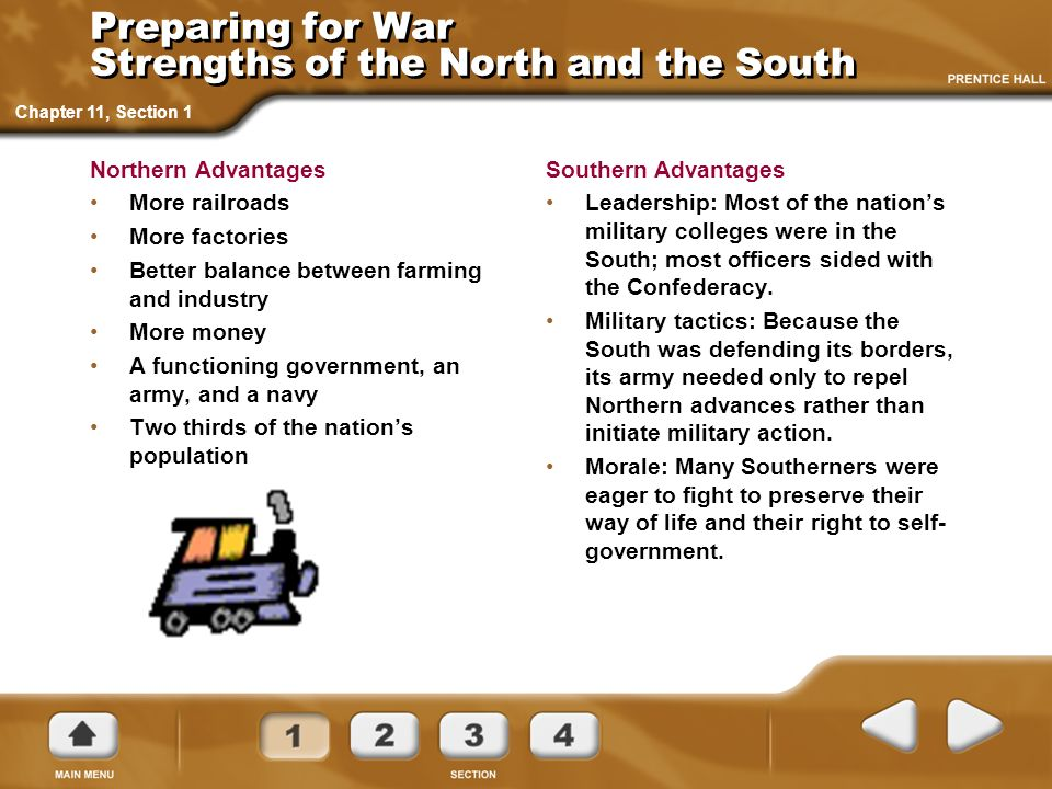 Preparing for War Strengths of the North and the South