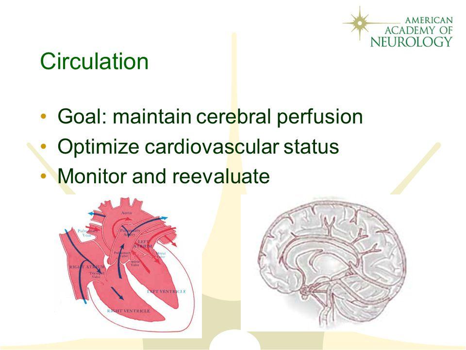 Circulation Goal: maintain cerebral perfusion