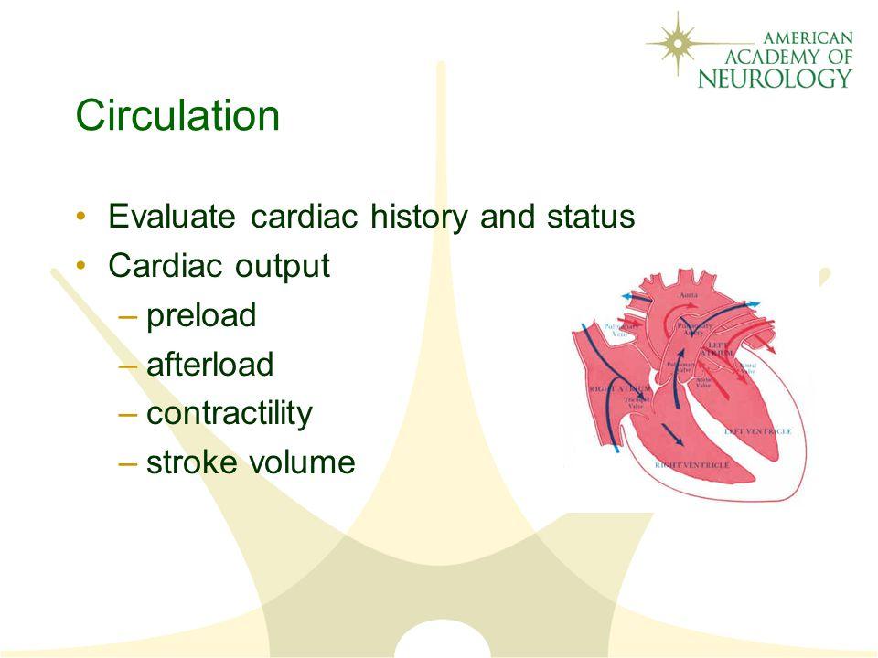 Circulation Evaluate cardiac history and status Cardiac output preload