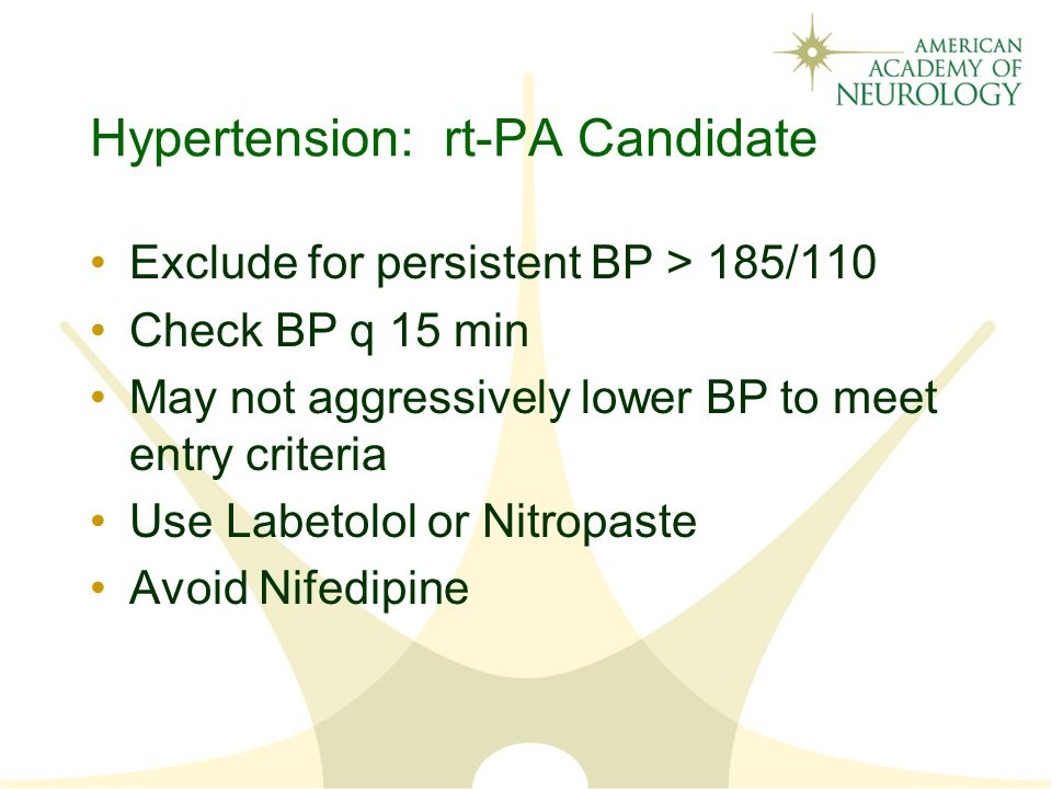 Hypertension: rt-PA Candidate