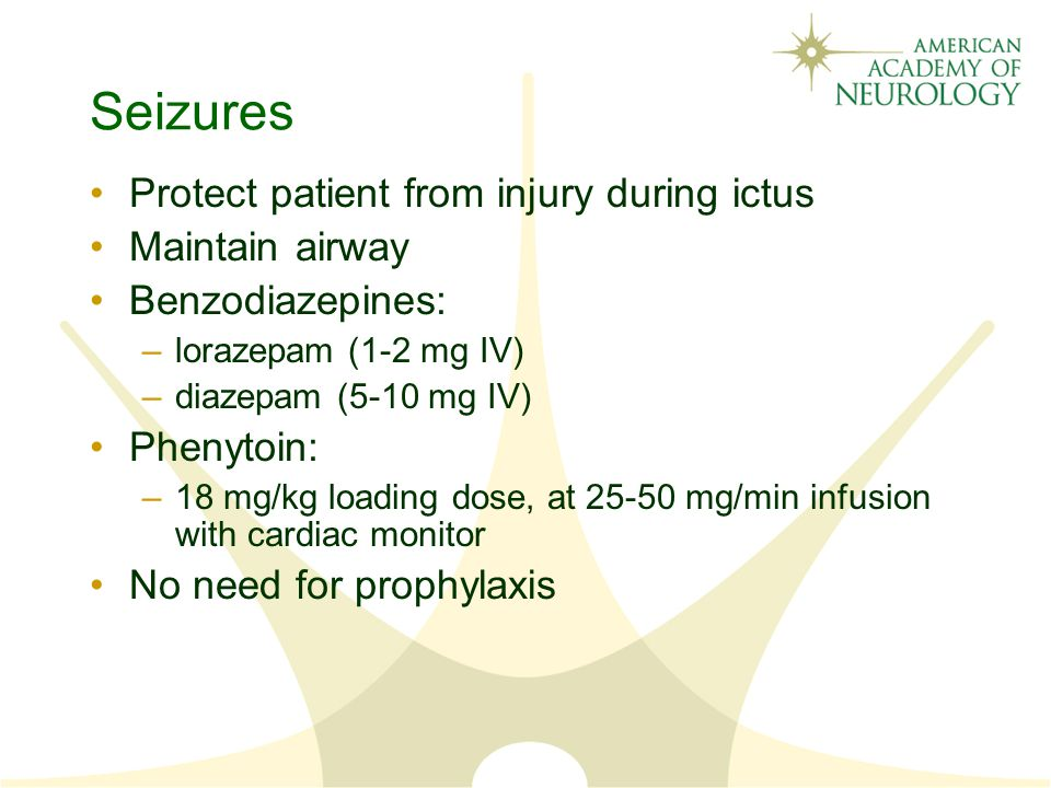 Seizures Protect patient from injury during ictus Maintain airway