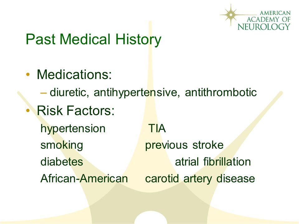 Past Medical History Medications: Risk Factors: