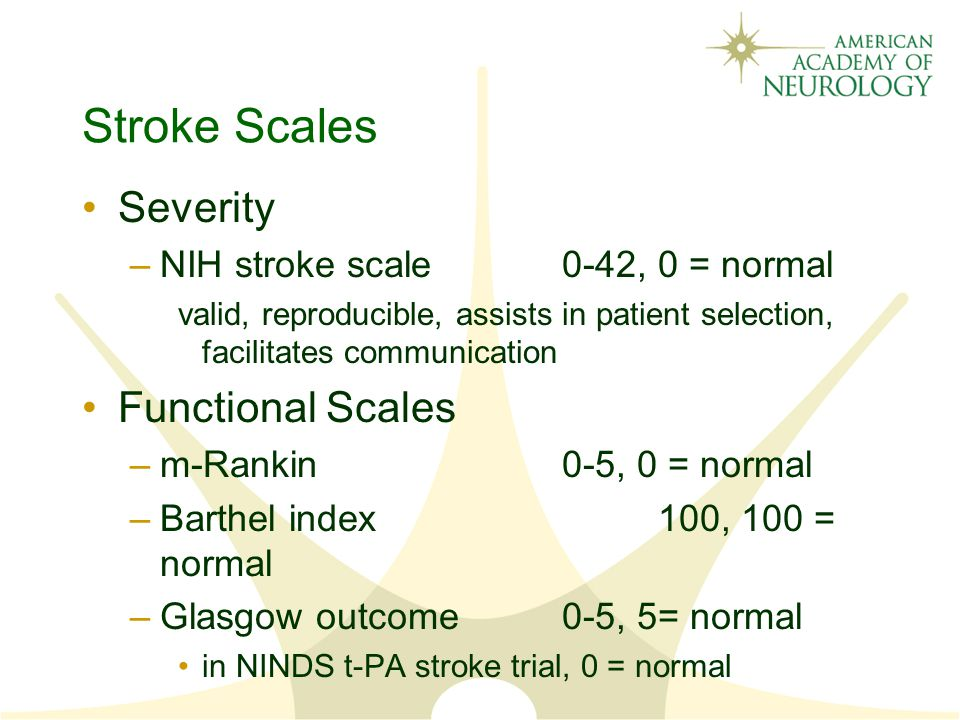 Stroke Scales Severity Functional Scales