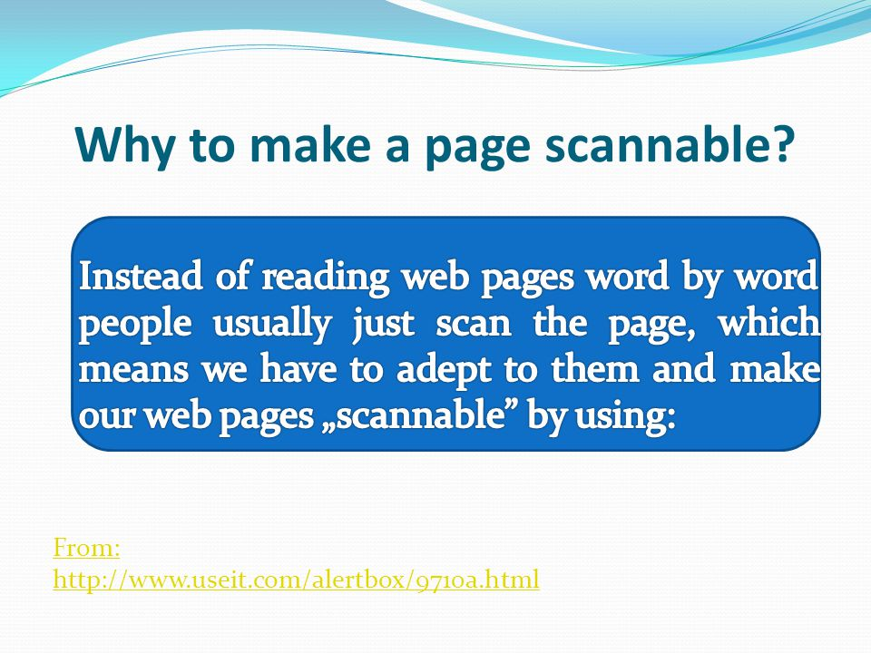 Why to make a page scannable