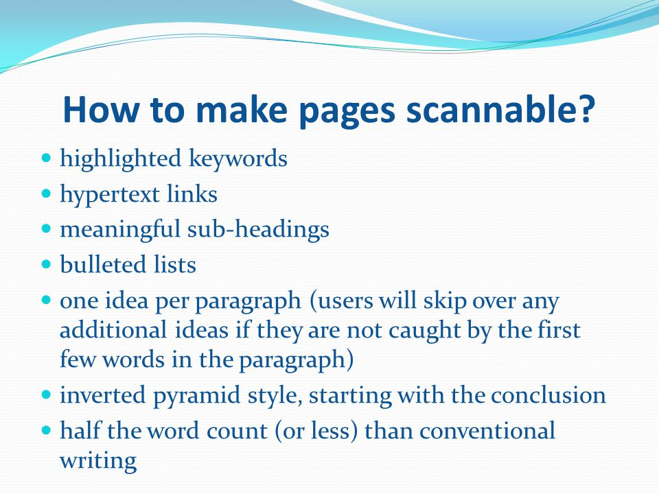 How to make pages scannable