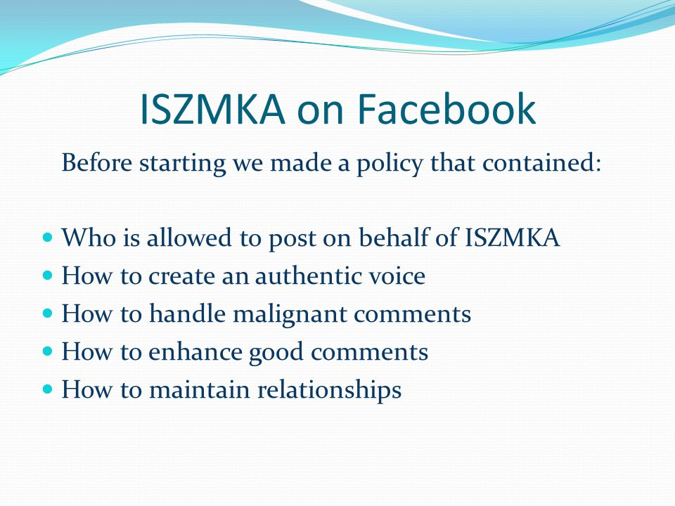 ISZMKA on Facebook Who is allowed to post on behalf of ISZMKA