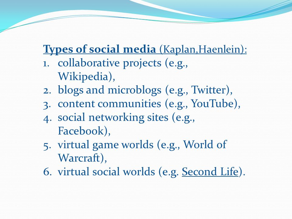 Types of social media (Kaplan,Haenlein):