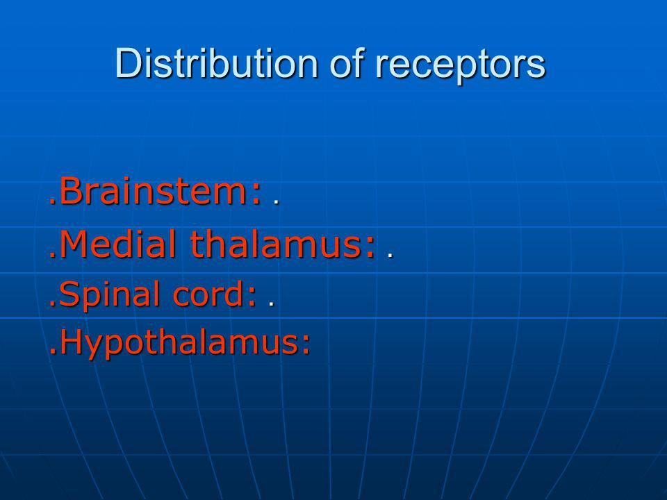 Distribution of receptors